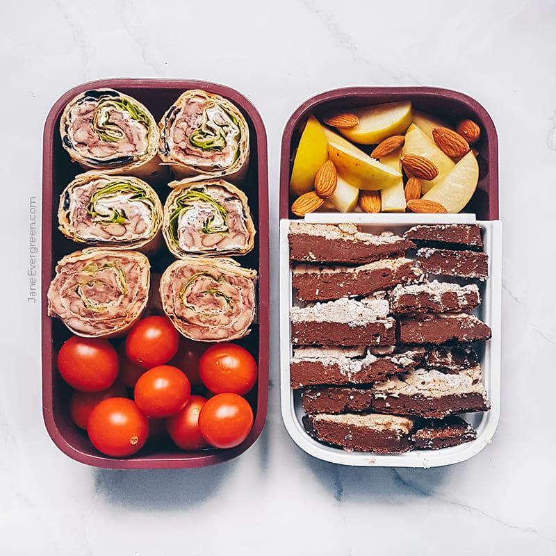 Vegan meal prep idea - bean wraps and chocolate bars