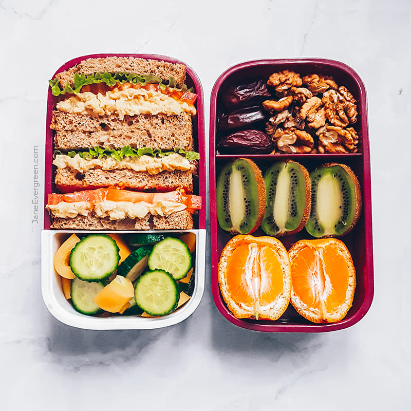 Vegan meal prep idea - tuna sandwich with veggies
